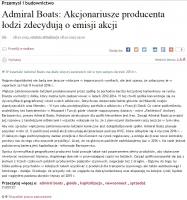 Link do artykułu na temat Admiral Boats w Parkiet.com
